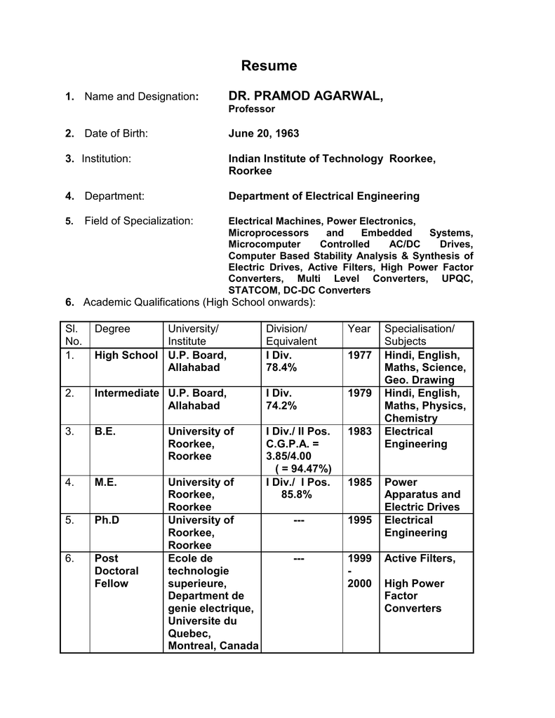 Resume - IIT Roorkee