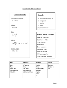 Page 1 Grade 8 Math Reference Sheet Add Subtract Multiply Divide