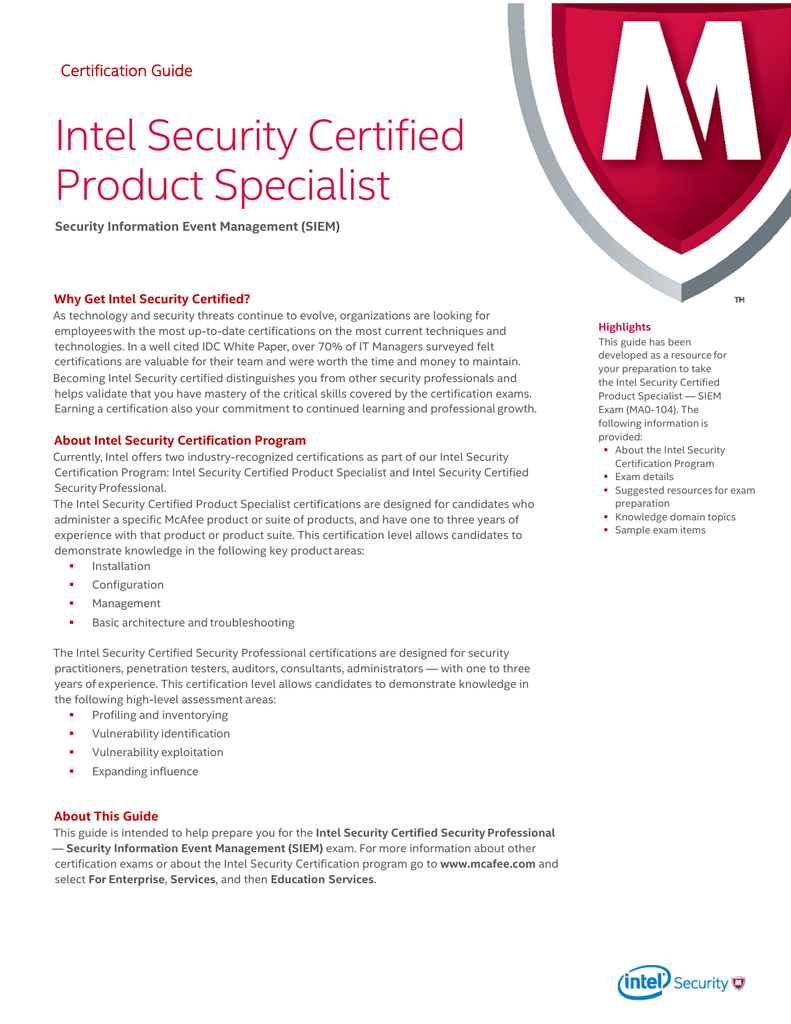 Intel Security Certified Product Specialist Security Information Event