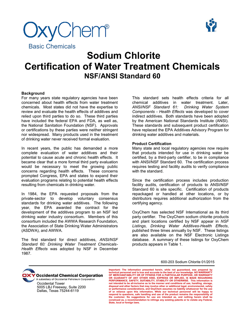 Sodium Chlorite Certification Of Water Treatment Chemicals Nsf