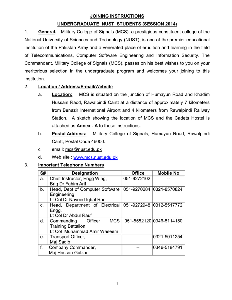 1 JOINING INSTRUCTIONS UNDERGRADUATE NUST STUDENTS