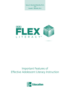 Important Features of Effective Adolescent Literacy Instruction