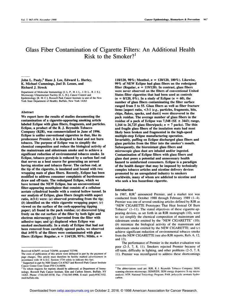 Glass Fiber Contamination of Cigarette Filters: An