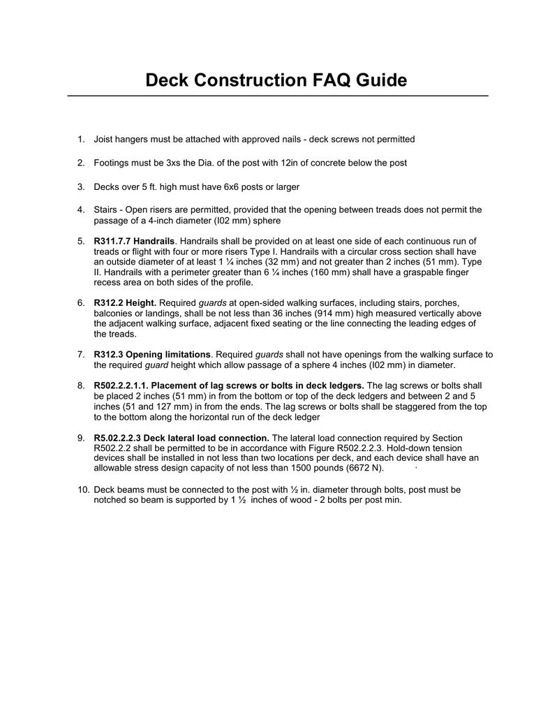 Deck Construction FAQ Guide