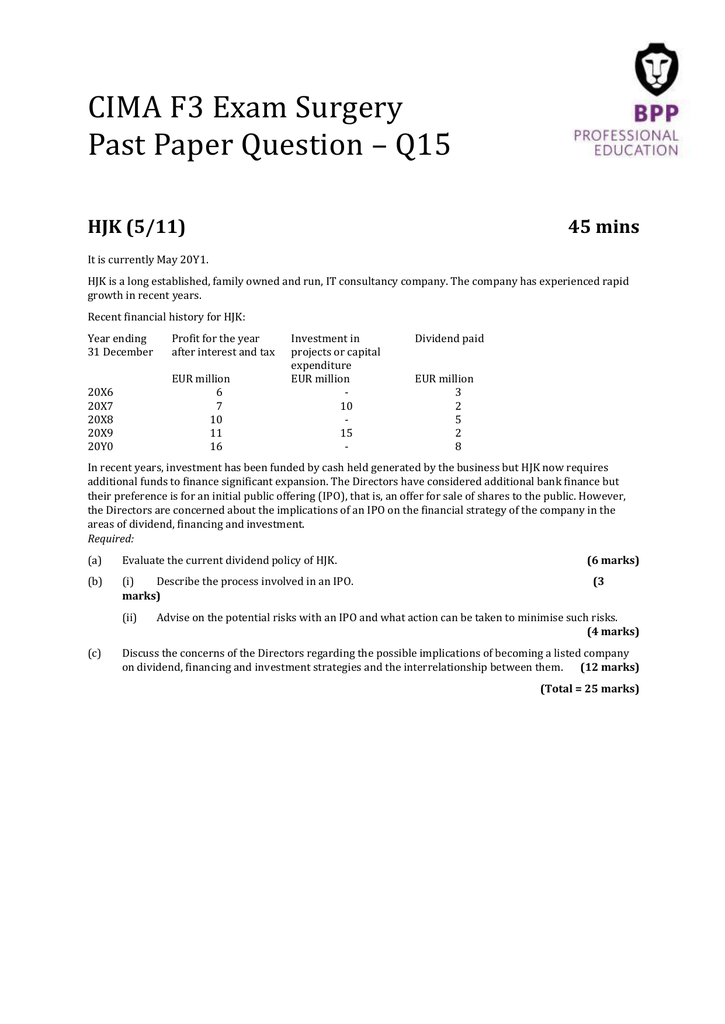 CIMA F3 Exam Surgery Past Paper Question – Q15