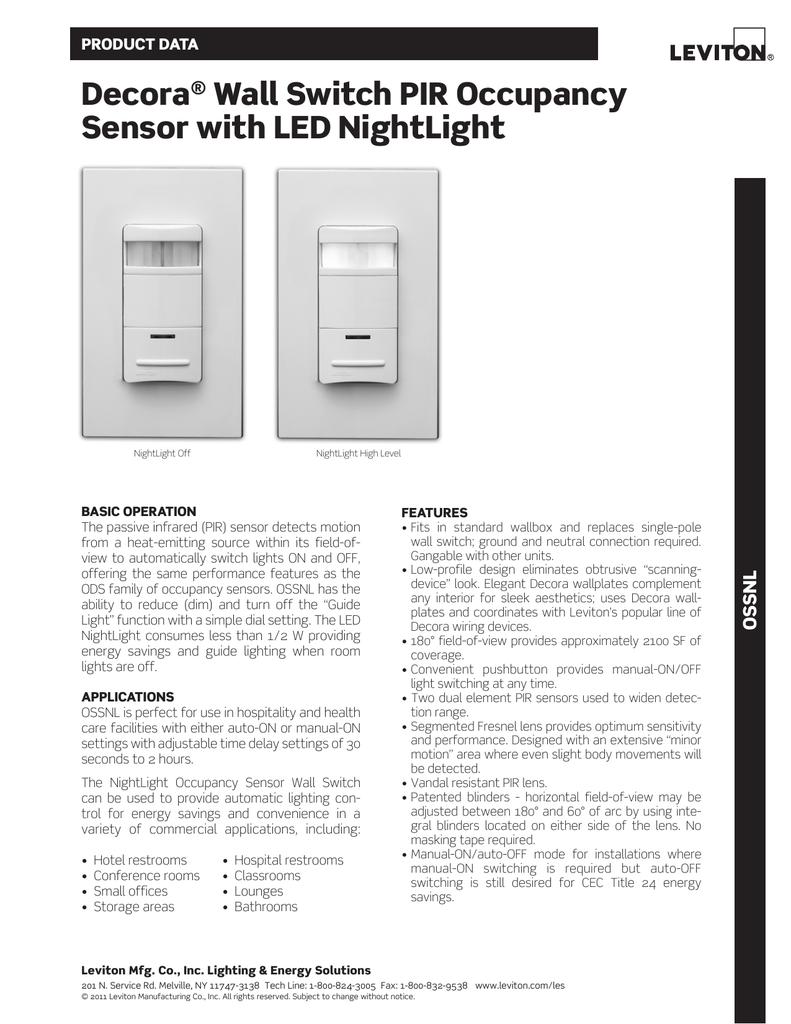 Decora® Wall Switch PIR Occupancy Sensor with