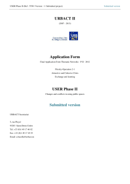 URBACT II Application Form USER Phase II Submitted version