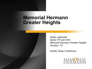 Memorial Hermann Greater Heights – Susan Jadlowski