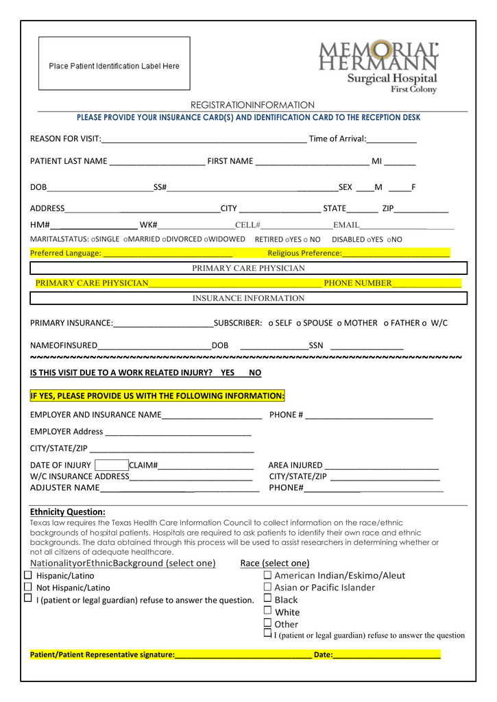 New Patient Registration Forms - Memorial Hermann Surgical