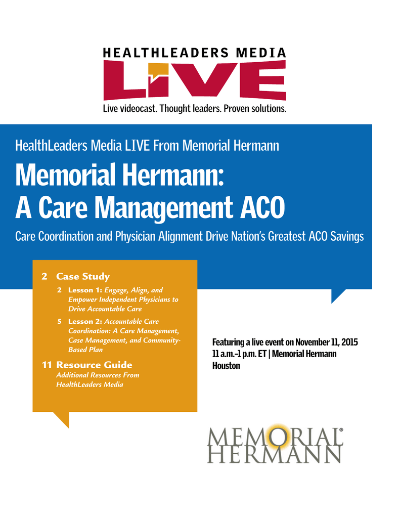 Memorial Hermann: A Care Management ACO