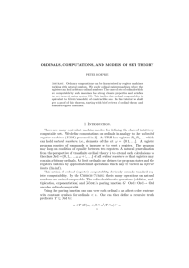 ORDINALS, COMPUTATIONS, AND MODELS OF SET THEORY 1