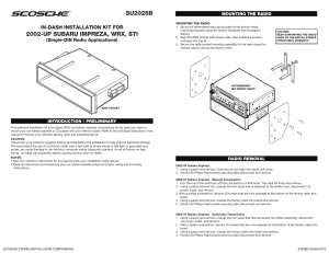 Scosche Stereo Dash Kits Installation Instructions