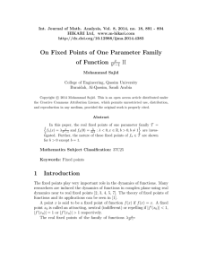 On fixed points of one parameter family of function x