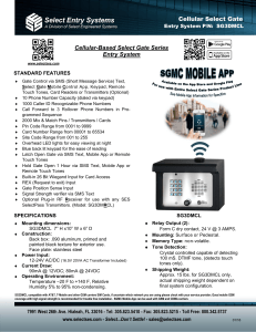Cellular Select Gate Product Sheet