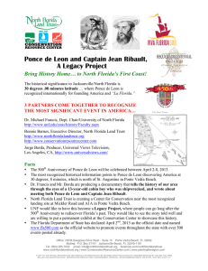 Ponce de Leon and Captain Jean Ribault, A Legacy Project Bring
