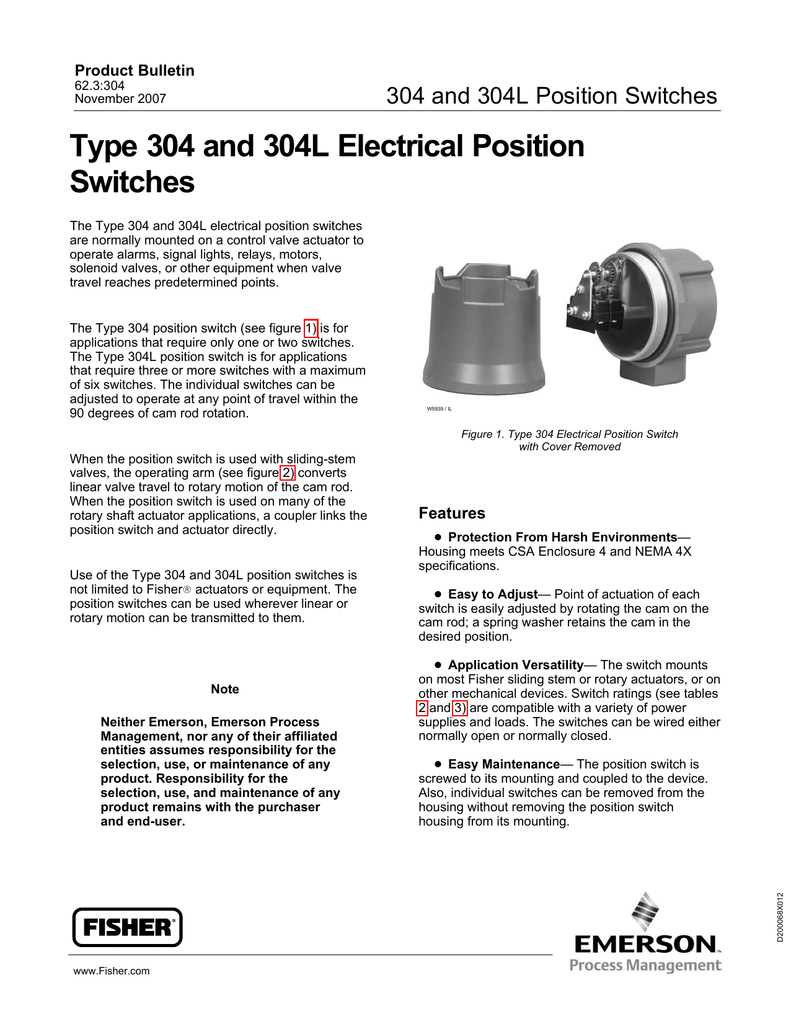 Type 304 and 304L Electrical Position Switches