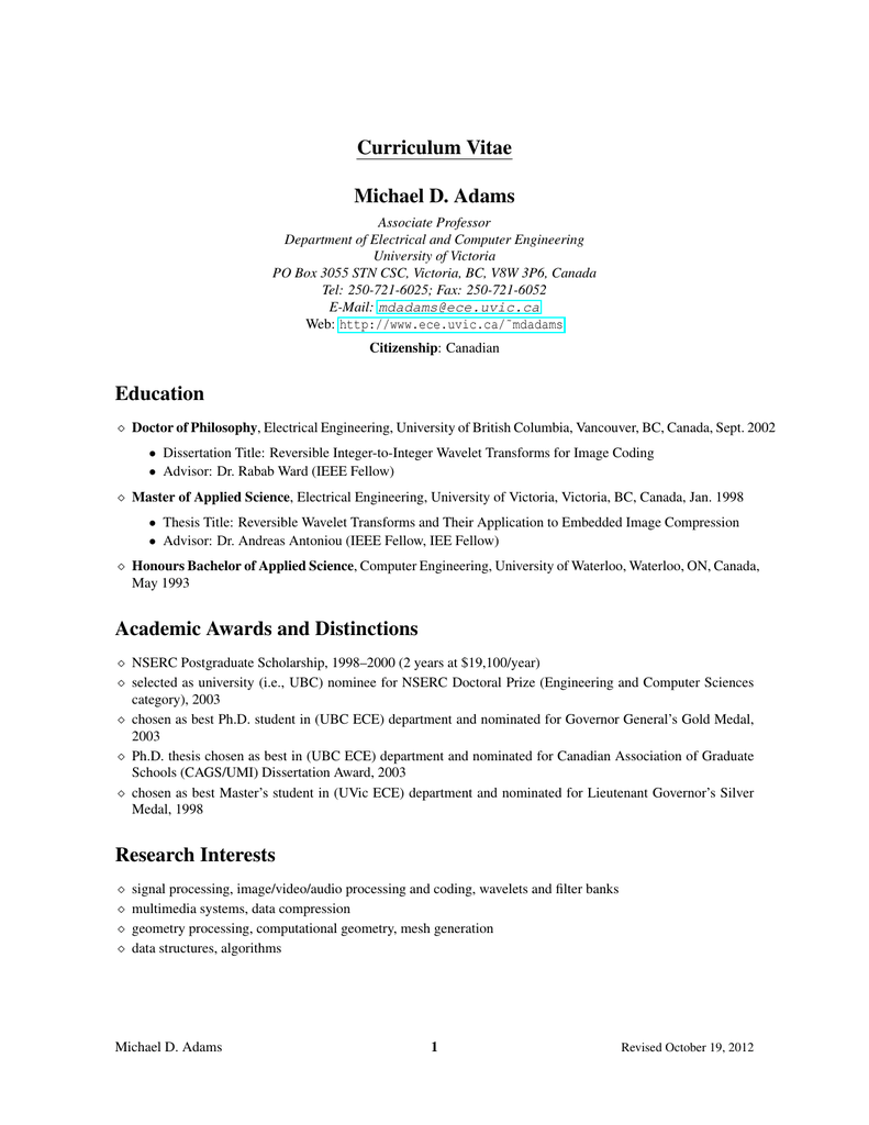 curriculum vitae (in PDF format) - Electrical and Computer Engineering