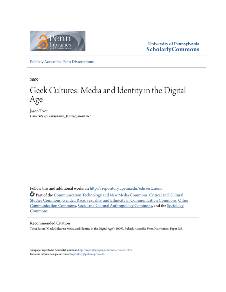 Geek Cultures: Media and Identity in the Digital Age