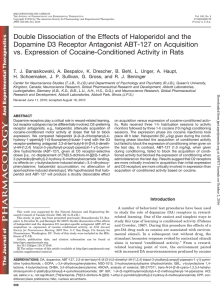 Double Dissociation of the Effects of Haloperidol and the Dopamine