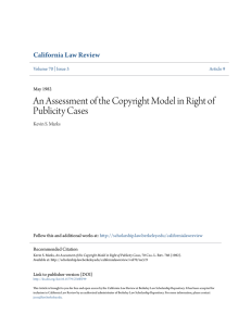 An Assessment of the Copyright Model in Right of Publicity Cases