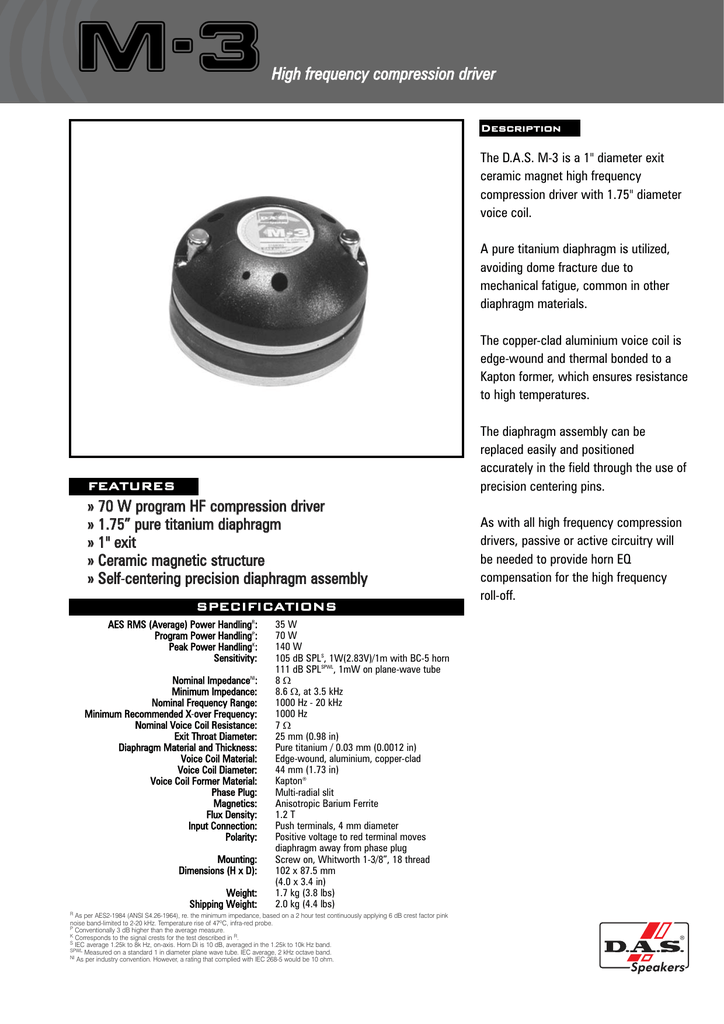 M-3High frequency compression driver