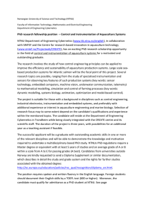 PhD research fellowship position – Control and Instrumentation of