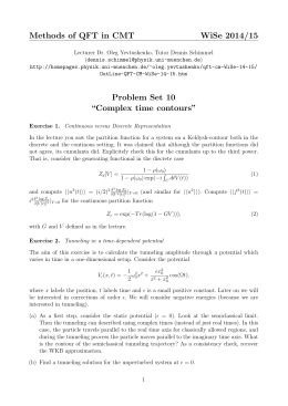 "Methods of QFT in CMT WiSe 2014/15 Problem Set 10 ""Complex"