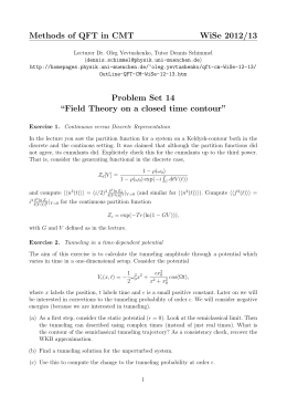 "Methods of QFT in CMT WiSe 2012/13 Problem Set 14 ""Field Theory"