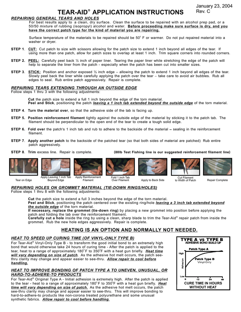 Instruction W Updated Heat Gu Tear Aid