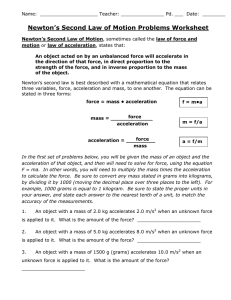 Newton`s Second Law of Motion Problems Worksheet