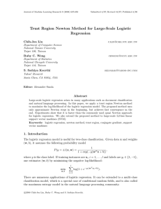 Trust Region Newton Method for Large-Scale Logistic