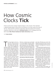 How Cosmic Clocks Tick - Max-Planck