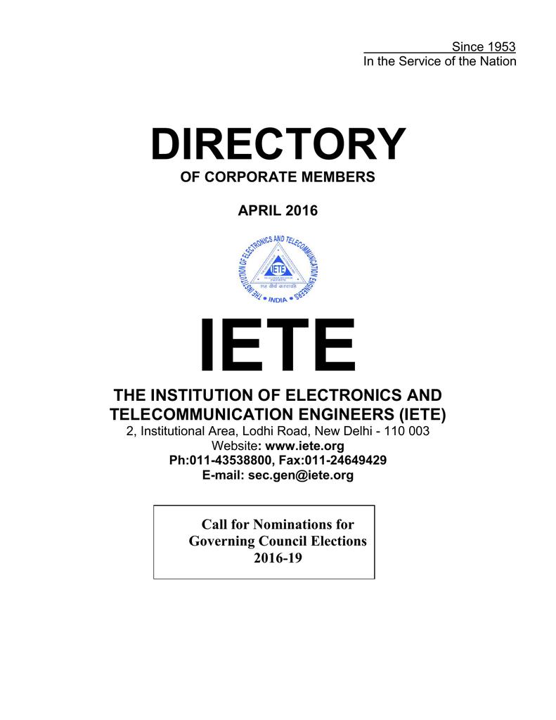 IETE Directory of Corporate Members as on 31 Mar 2016