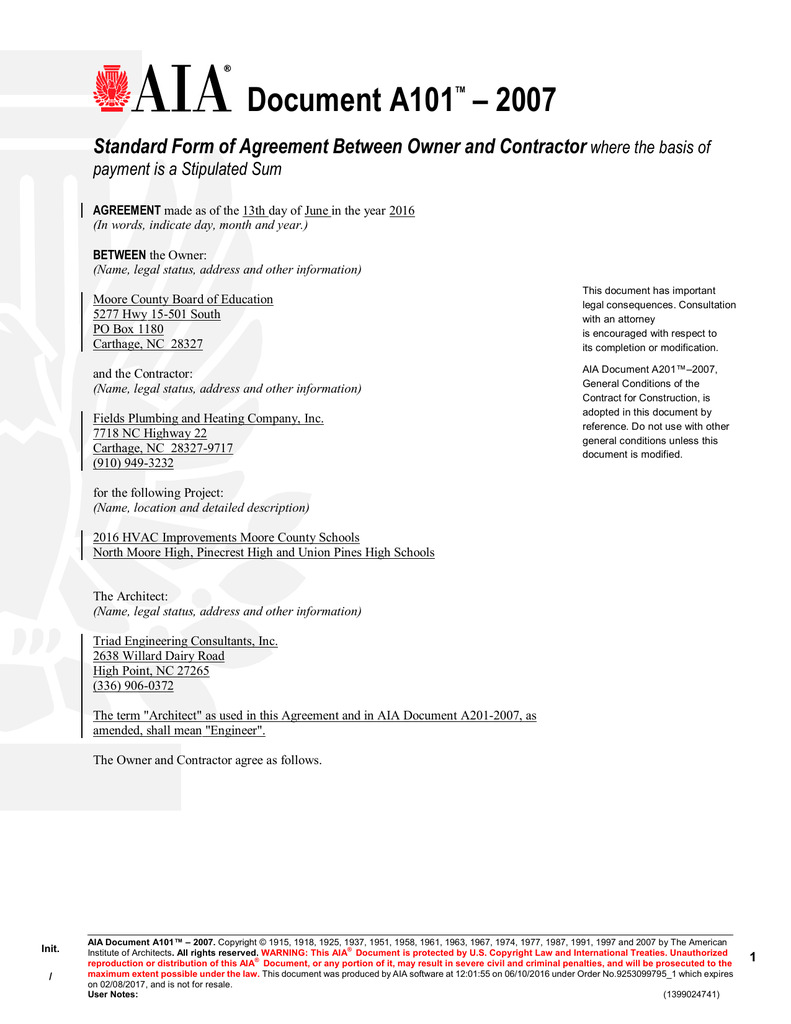 Document A101 Agreement Between Owner And Contractor For