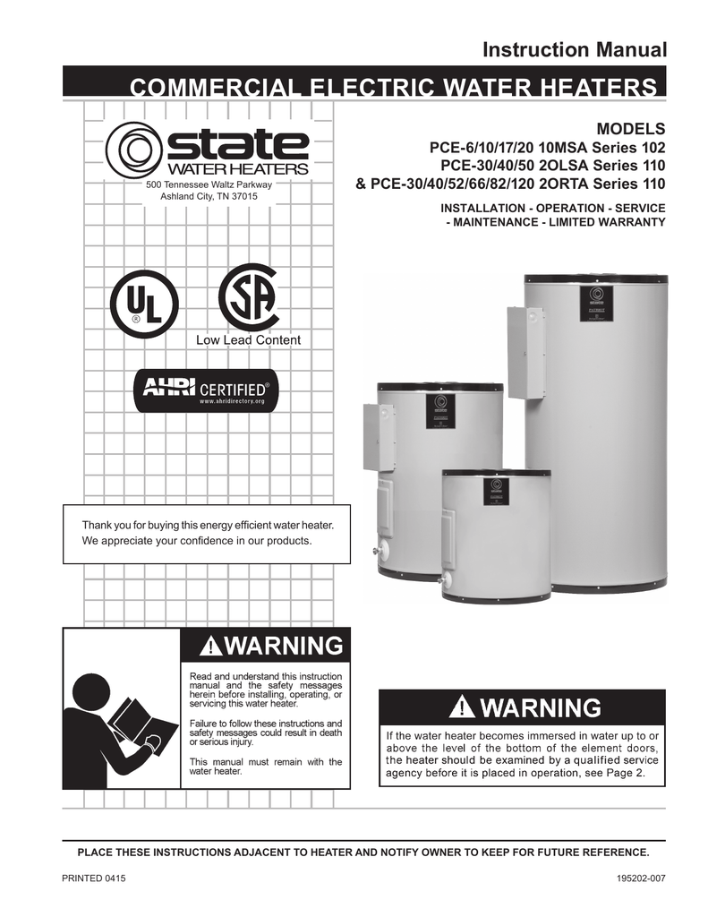 state electric water heater wiring diagram patriot manual state water heaters  patriot manual state water heaters