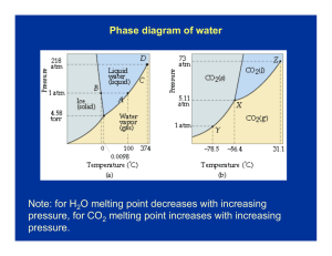 Phase diagram of water Note