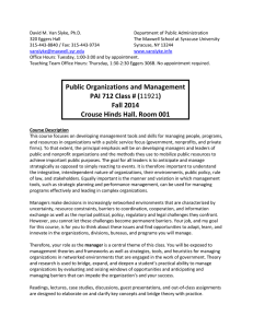 PAI 712 Public Organizations and Management
