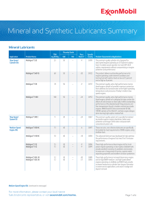 Mineral and Synthetic Lubricants Summary