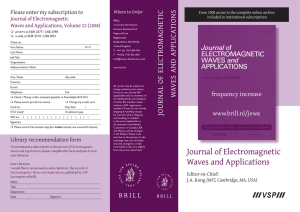 Journal of Electromagnetic Waves and Applications