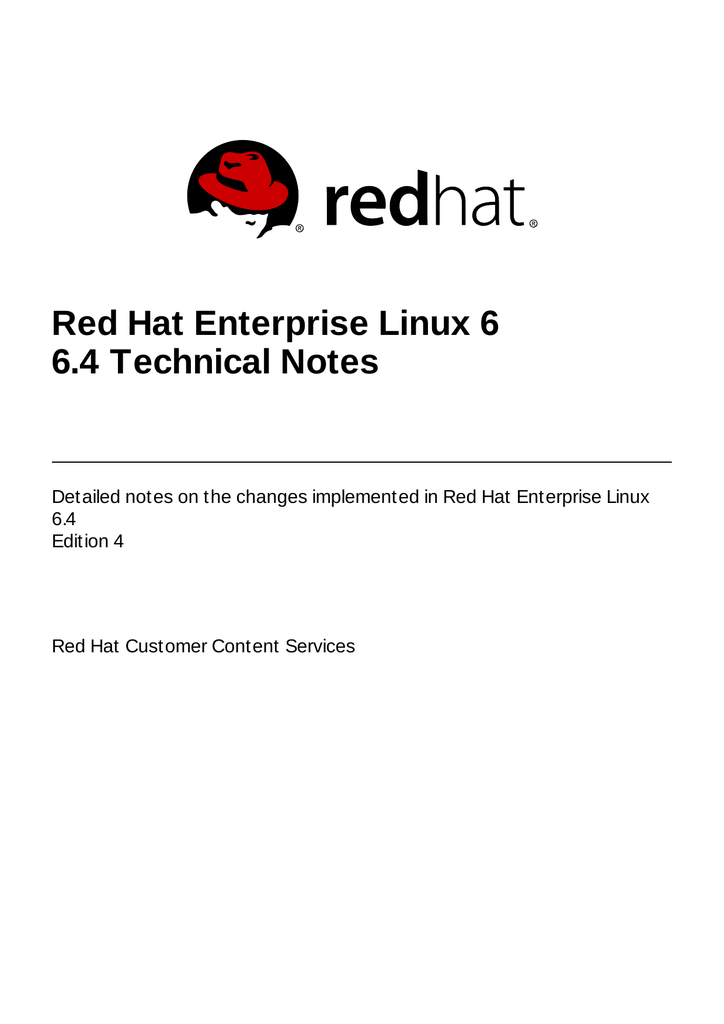 6 4 Technical Notes - Red Hat Customer Portal