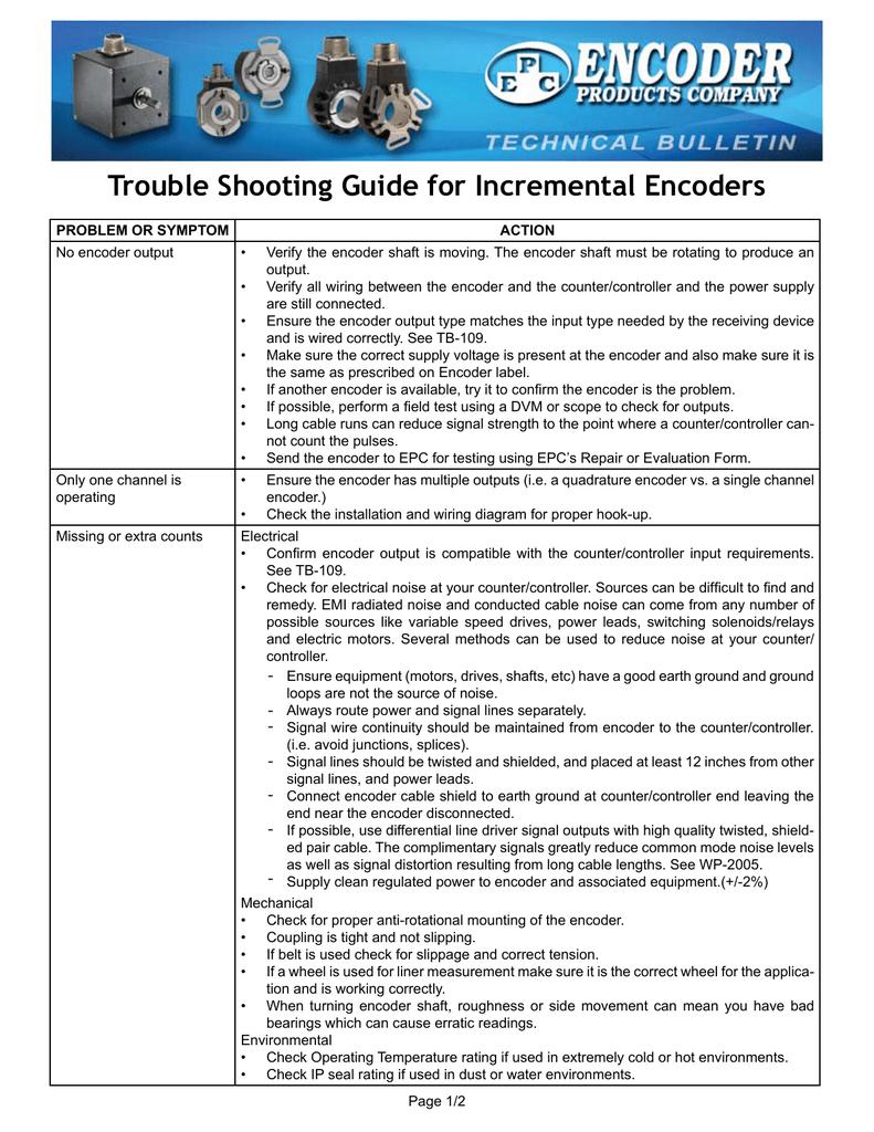 Trouble Shooting Guide For Incremental Encoders Encoder Wiring Diagram