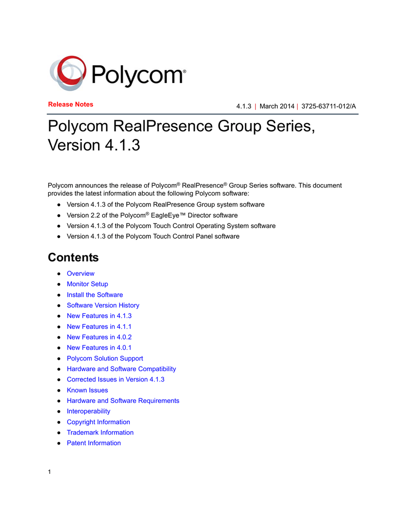 Release Notes for the Polycom RealPresence Group Series