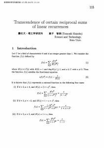 of linear recurrences