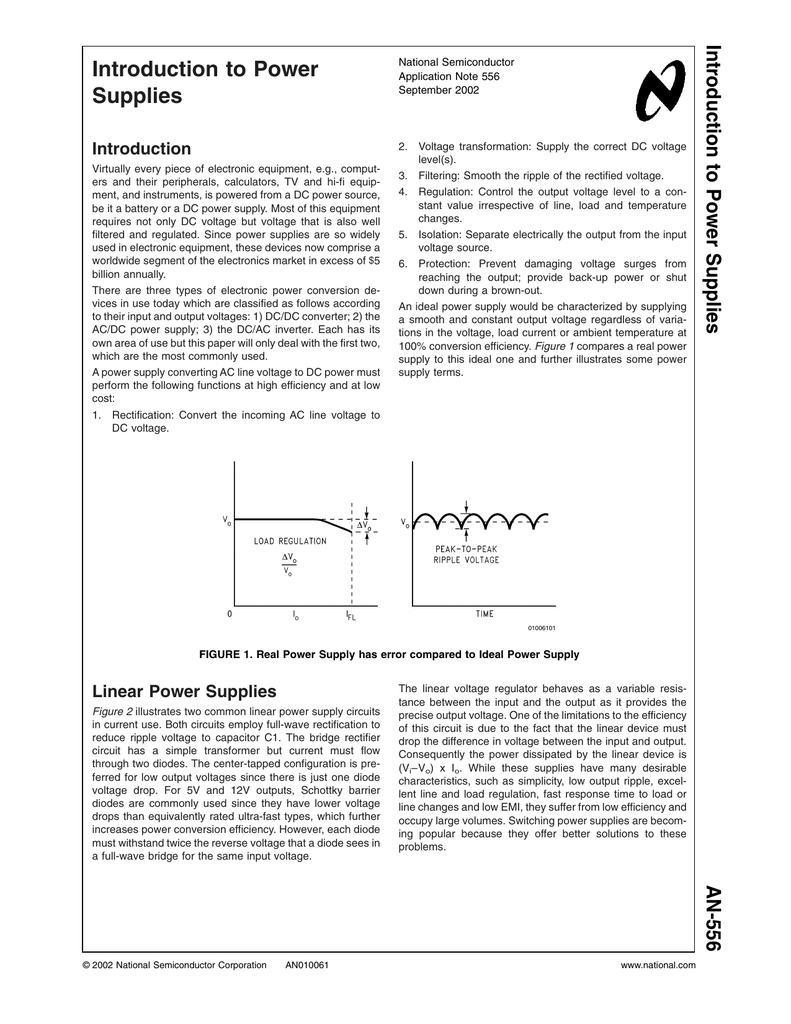 Introduction To Power Supplies K Linear Acdc Supply With Transformer Rectifier Smoother And