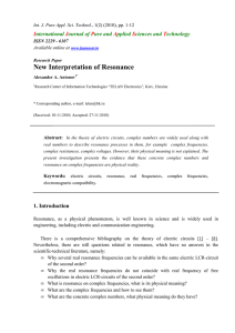 New Interpretation of Resonance - International Journal of Pure and