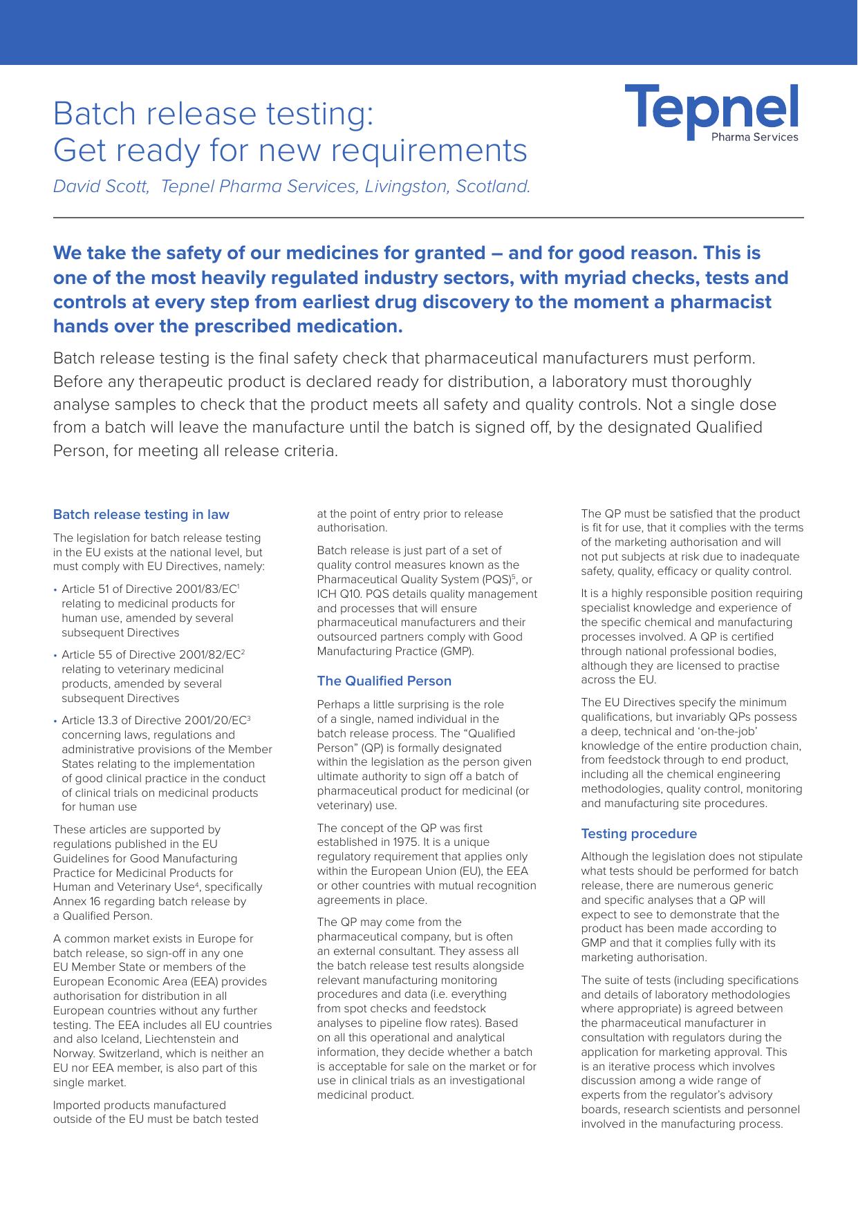 Batch release testing - Tepnel Pharma Services