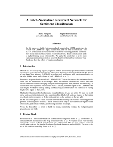A Batch-Normalized Recurrent Network for Sentiment Classification