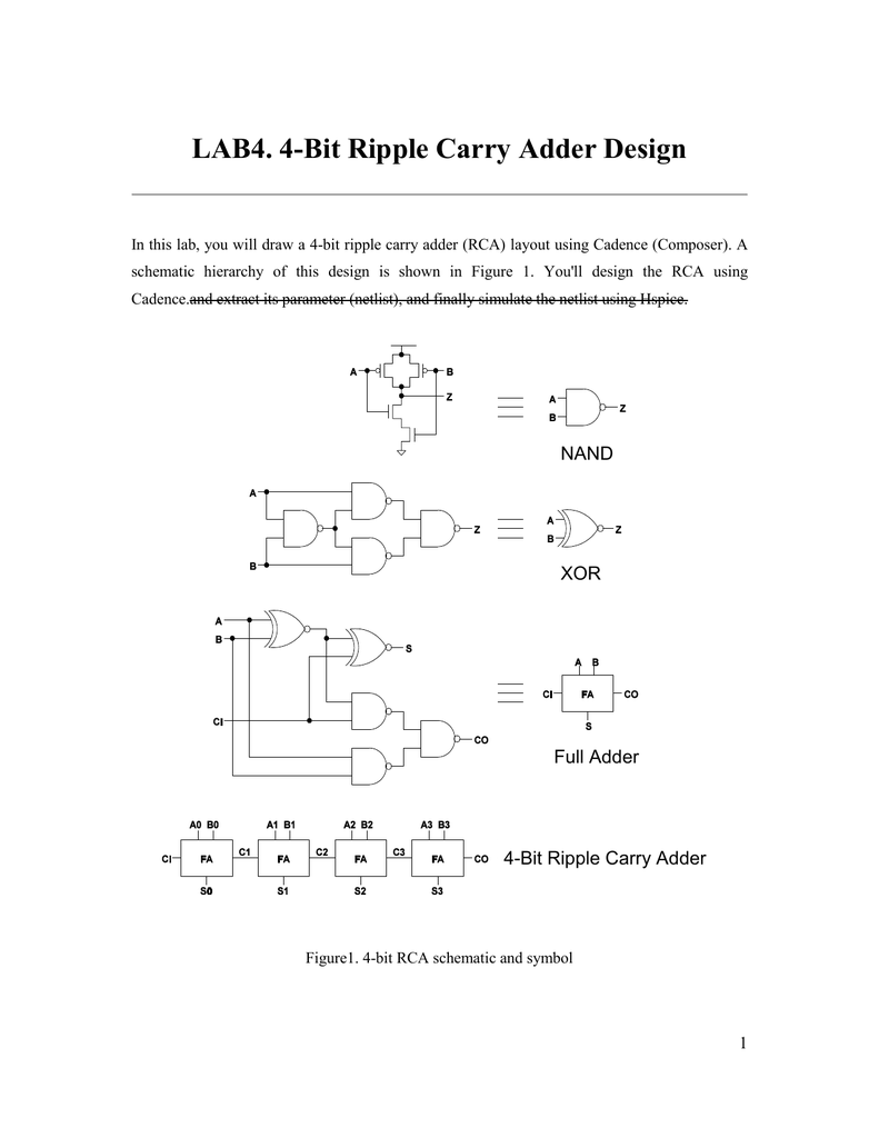 LAB4. 4-Bit Ripple Carry Adder Design on