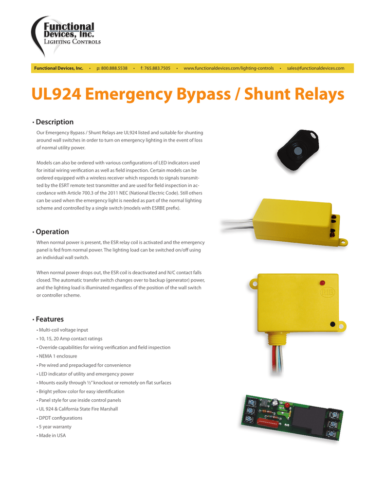Ul924 Emergency Bypass Shunt Relays Long Wire To Included Switch Voltage Input 10 15v Includes Led 018763425 1 1450f7f1ac56304efc203f5aa8ae1caf