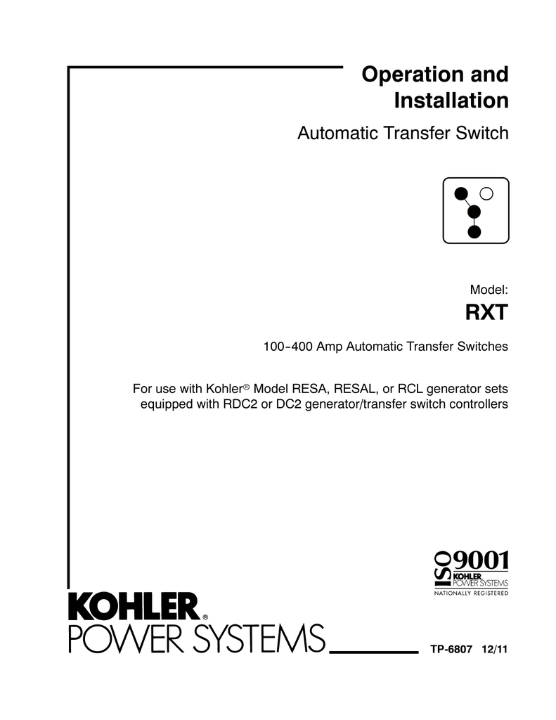 Rxt Transfer Switch Wiring Diagram Data Generator Images Of Kohler Simple Site Relay 14resal Operation
